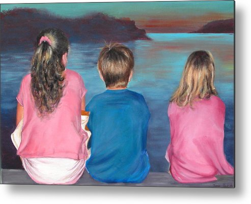 Beach Metal Print featuring the painting Silver Island Sunset by Fiona Jack