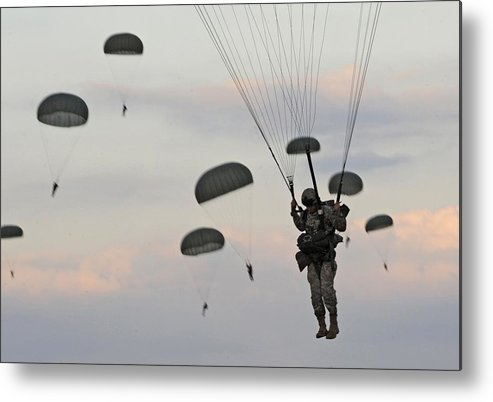 History Metal Print featuring the photograph Soldiers Of The 82nd Airborne Descend by Everett