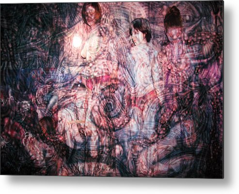 Paint Metal Print featuring the painting Spiral Circuitry by Leigh Odom