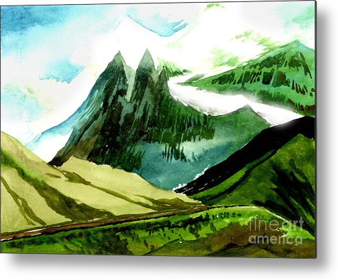 Landscape Metal Print featuring the painting Switzerland by Anil Nene