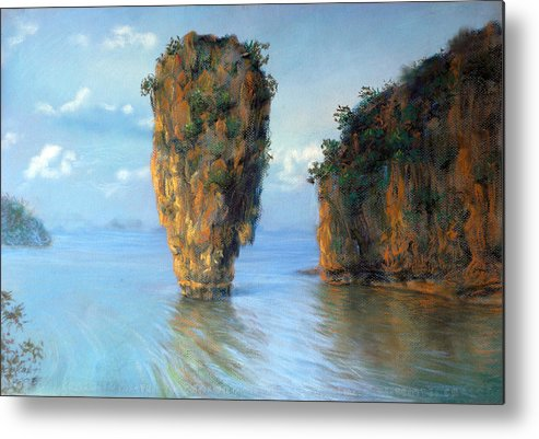Pastel Metal Print featuring the painting Thai Landscape by Chonkhet Phanwichien