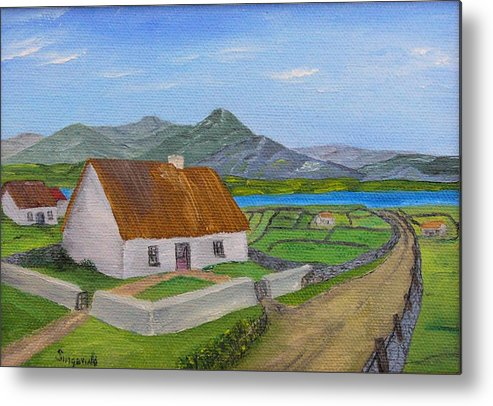 Irish Scene Metal Print featuring the painting Thatched House 2 by Cary Singewald