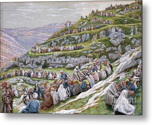 The Metal Print featuring the painting The Miracle Of The Loaves And Fishes by Tissot