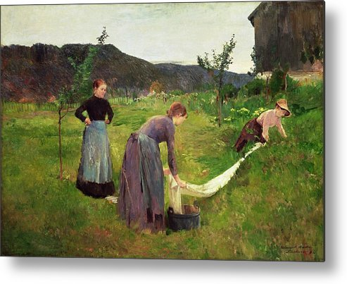 Three Metal Print featuring the painting Three Ladies Washing by Harriet Backer