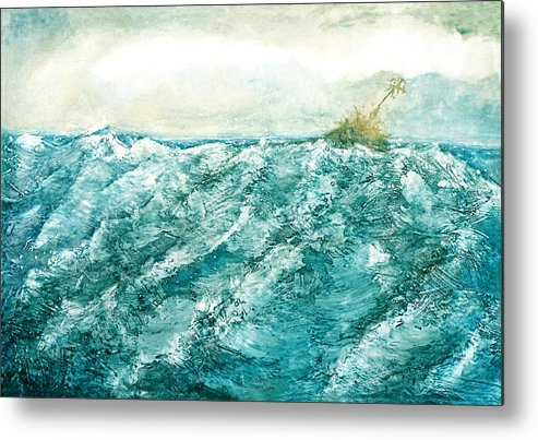 Oil Painting Metal Print featuring the painting wave V by Martine Letoile