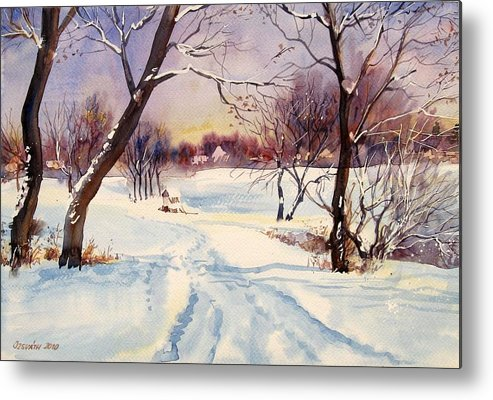 Winter Metal Print featuring the painting Winter Day by Gyorgy Ozsvath