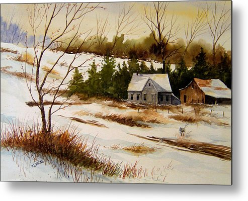 Landscape Metal Print featuring the painting Winter Morning by Brooke Lyman