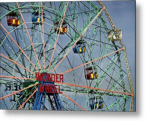 Wonder Metal Print featuring the photograph Wonder Wheel by Ercole Gaudioso