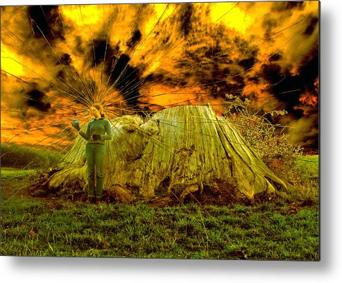 Landscape Photography Painting Environment Trees Fores Rural Global Warming Endangered Portrait Tasm Metal Print featuring the painting Zoe And The Ancient Remnant Eucalyptus Viminalis by Sarah King