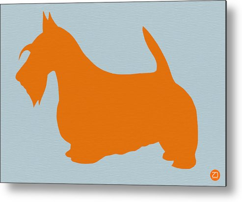 Scottish Terrier Metal Print featuring the painting Scottish Terrier Orange by Naxart Studio