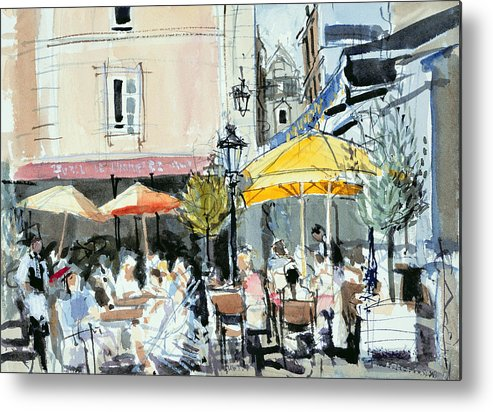 Cafe; Restaurant; French; Open Air; Dining; Eating; Al Fresco; Courtyard; Tables; Umbrellas; Brittany; Shade; Parasols; Terrace Metal Print featuring the painting The Square At St. Malo by Felicity House