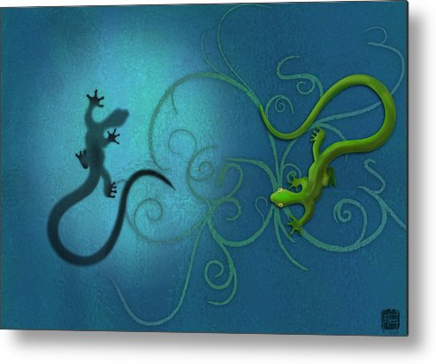Gecko Metal Print featuring the digital art water colour print of twin geckos and swirls Duality by Sassan Filsoof