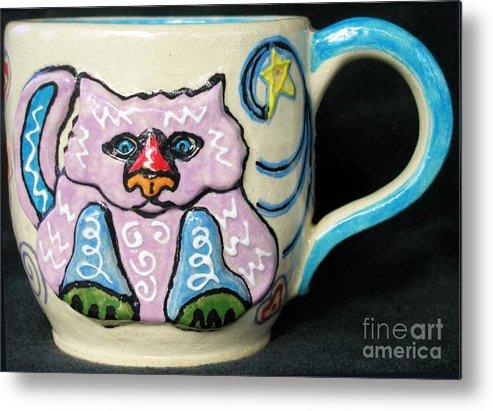 Cat Metal Print featuring the ceramic art Star Kitty Mug by Joyce Jackson