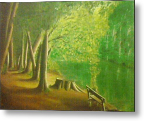 Yegonizer Metal Print featuring the painting Green River by Evans Yegon