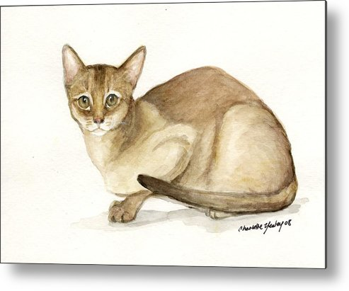 Cat Metal Print featuring the painting Absyssinian Cat by Charlotte Yealey