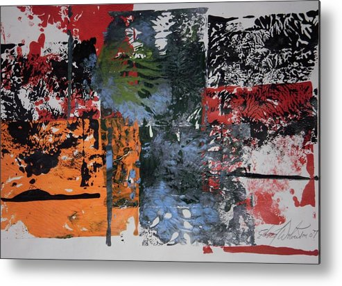 Abstract Metal Print featuring the painting Black Cat Firecracker by Edward Wolverton