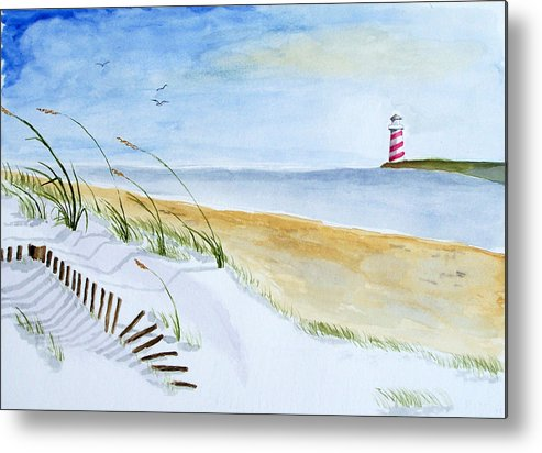 Beach Metal Print featuring the painting Cove With Lighthouse by Robert Thomaston