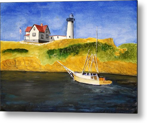 Lighthouse Metal Print featuring the painting East Coast Lighthouse With Crab Boat by Robert Thomaston