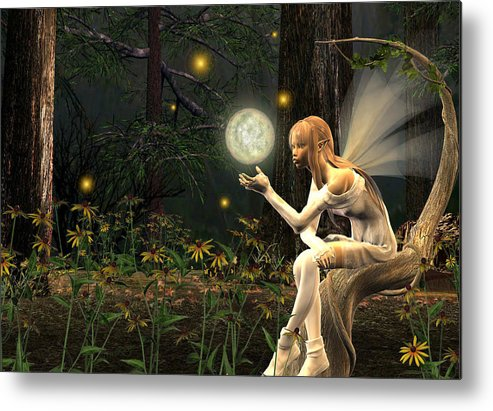 Fairy Fae Fairies Magic Fantasy Metal Print featuring the digital art Fairy Light by Lisa Roy