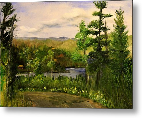 Landscape Metal Print featuring the painting Gunflint Overlook by Joi Electa