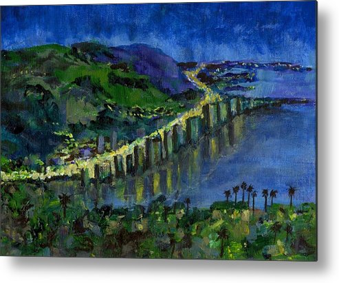 Laguna Metal Print featuring the painting Laguna Shores At Night by Randy Sprout