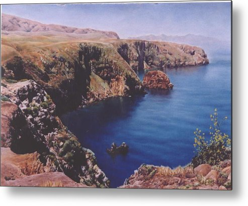 Water Metal Print featuring the painting Morning On Santa Cruz by Marion Hylton