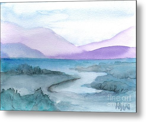 Water Blue Green Purple Seascape Land Sacpe Painting Watercolor Metal Print featuring the painting New York Quiet by Marsha Woods