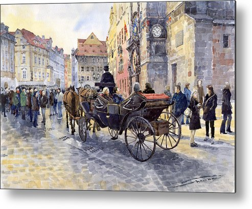 Watercolour Metal Print featuring the painting Prague Old Town Hall And Astronomical Clock by Yuriy Shevchuk