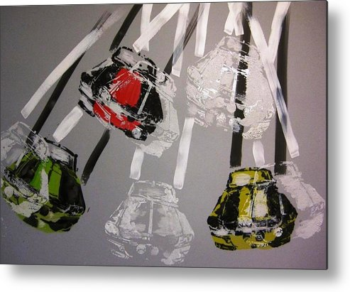 Racing Metal Print featuring the painting Racing Mustang's by David Raderstorf