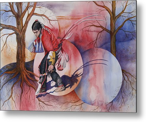 Native American Spirit Portrait Metal Print featuring the painting Red Dancer by Patsy Sharpe