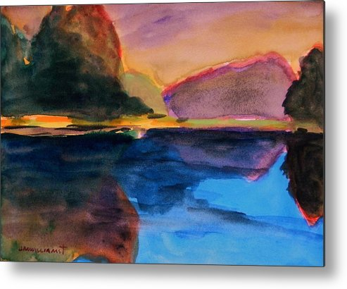 Landscape Metal Print featuring the painting Sapphire Blue Water by John Williams