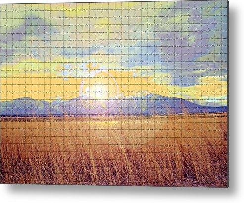 Sunrise Metal Print featuring the photograph Sunrise Field 2 - Mosaic Tile Effect by Steve Ohlsen
