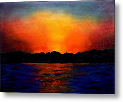 Sinai Sunset Metal Print featuring the painting Sunset Sinai by Helmut Rottler