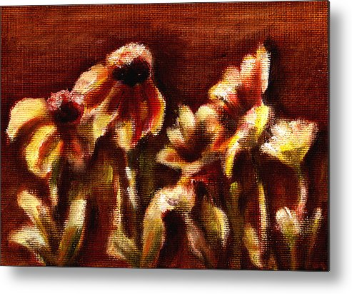 Metal Print featuring the painting Yellow Daisys by Patricia Halstead