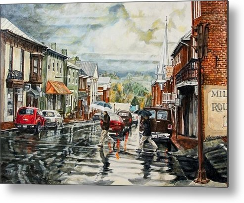 Rural Town Metal Print featuring the painting Looking North by Thomas Akers
