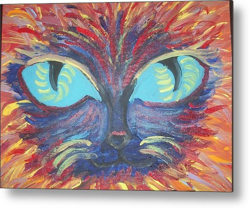 Cats Metal Print featuring the painting ICU by Lindsay St john
