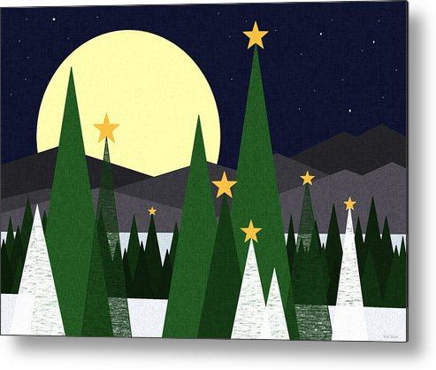 Landscape Metal Print featuring the digital art Long Night Moon by Val Arie