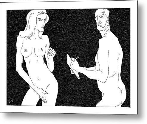 Art Metal Print featuring the digital art Model And Artist 19 by Leonid Petrushin
