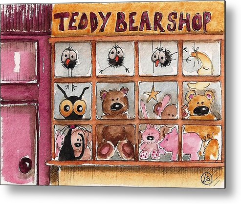 Lucia Stewart Metal Print featuring the painting Teddy Bear Shop by Lucia Stewart