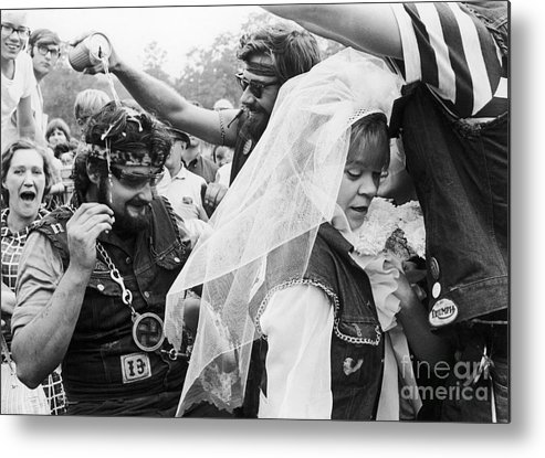 1969 Metal Print featuring the photograph Motorcycle Club Wedding by Granger