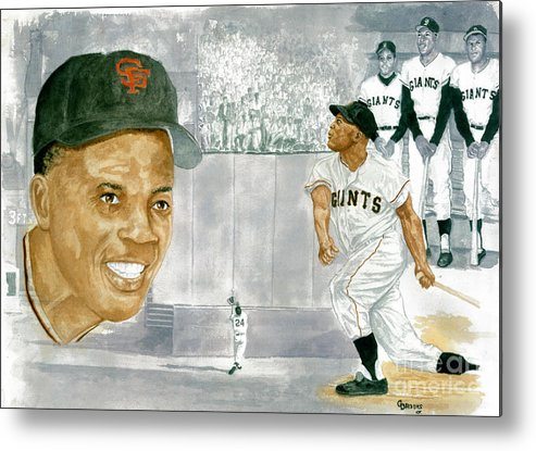 Willie Mays Metal Print featuring the painting Willie Mays - The Greatest by George Brooks