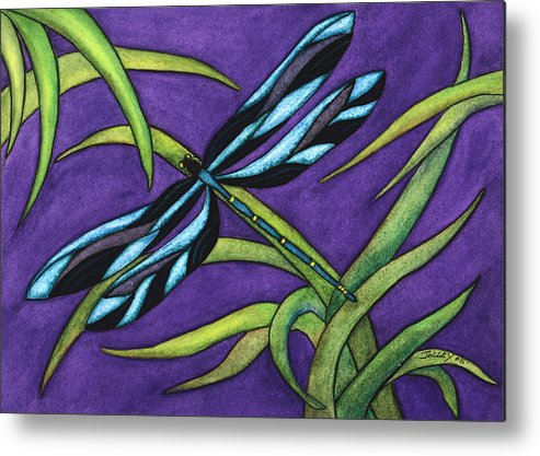 Watercolor Metal Print featuring the painting Dragonfly by Stephanie Jolley
