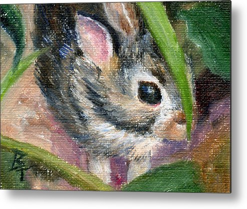 Bunny Metal Print featuring the painting Hiding Aceo by Brenda Thour