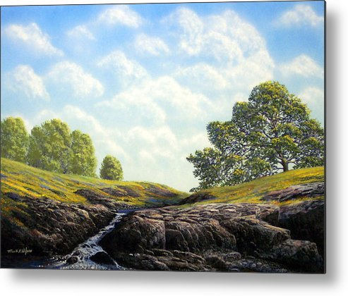 Landscape Metal Print featuring the painting Flowering Meadow by Frank Wilson