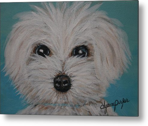Dog Metal Print featuring the painting Baby Blue by Dyanne Parker
