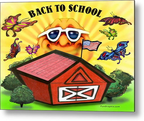 School Metal Print featuring the greeting card Back To School by Kevin Middleton