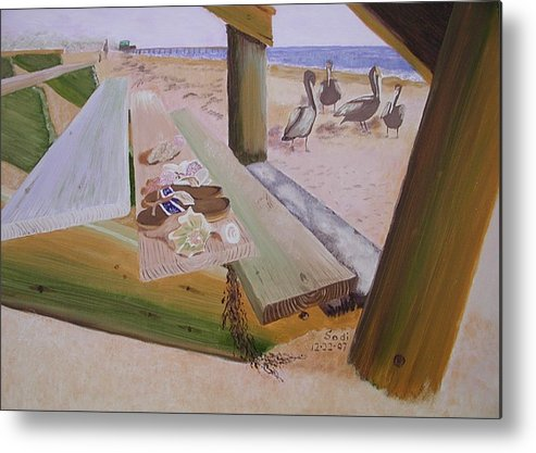 Beach Landscape Metal Print featuring the painting Beachcomber by Sodi Griffin