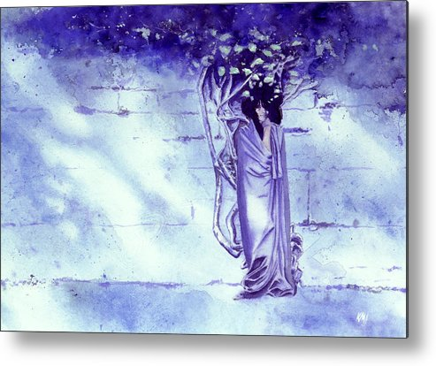 Woman Metal Print featuring the painting Blue Mood by Ken Meyer
