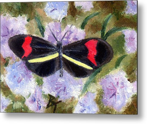 Butterfly Metal Print featuring the painting Butterfly Aceo by Brenda Thour