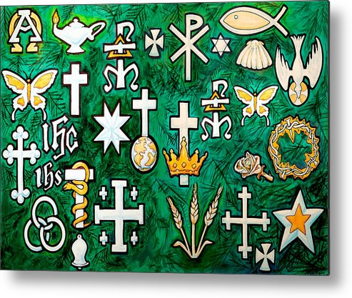 Chrismons Metal Print featuring the greeting card Chrismons by Kevin Middleton